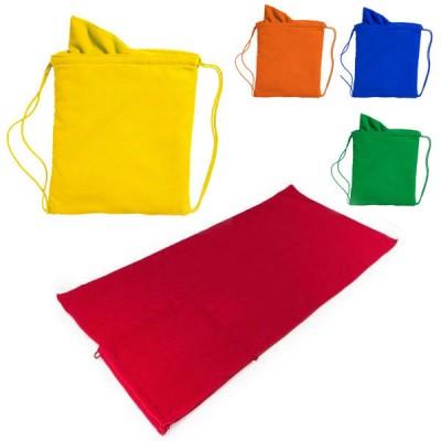 Serviette de plage ou piscine personnalisé publicitaire, pliable en sac à dos, coloris bleu, vert, jaune, orange, rouge