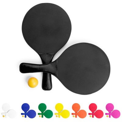 Raquette de bois personnalisable publicitaire avec balle, coloris noir, bleu, vert, jaune, orange, rouge, rose