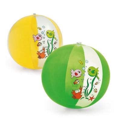 Ballon gonflable personnalisé publicitaire avec dessin poisson, coloris vert ou jaune