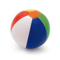 Ballon gonflable personnalisable avec tranches couleurs (blanc, bleu, vert, jaune, orange, rouge). Ballon gonflable de plage, goodie jeux enfant vacances publicitaire