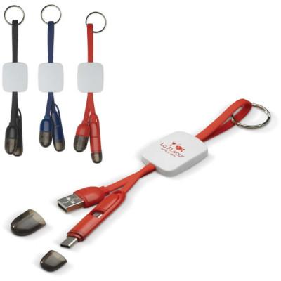 Porte-clés personnalisé avec câble muliti connecteur USB Micro USB Type C publicitaire personnalisé