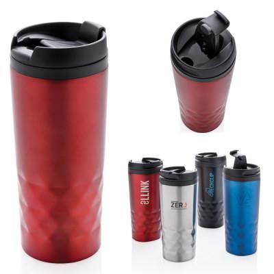 Mug de voyage isotherme noir, bleu, argenté, rouge, publcitaire personnalisable