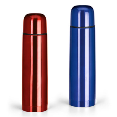 Bouteille isotherme bleu ou rouge publicitaire goodies luka