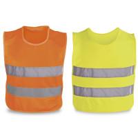 gilet jaune fluo et orange fluo enfant personnalisable publicitaire goodies