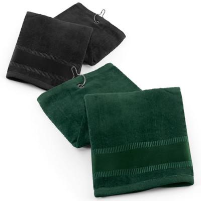 serviette de golf noir ou verte personnalisable publicitaire broderie