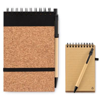 Carnet notes A6 couverture liège avec stylo bille personnalisable Objet publicitaire personnalisé Goodies