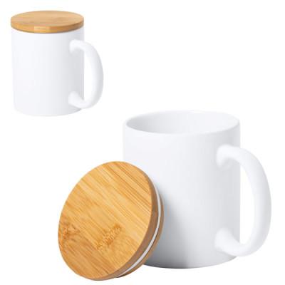 Mug blanc personnalisable avec couvercle en bambou oBjet publicitaire personnalisé