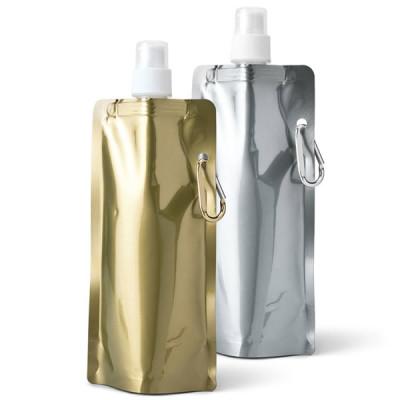 Gourde souple pliable doré ou métallisé personnalisé publicitaire