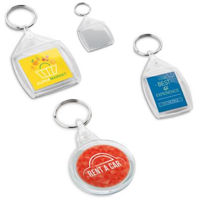 porte-clés publicitaire en plastique rond carré ou rectangle pas cher logo quadrichromie